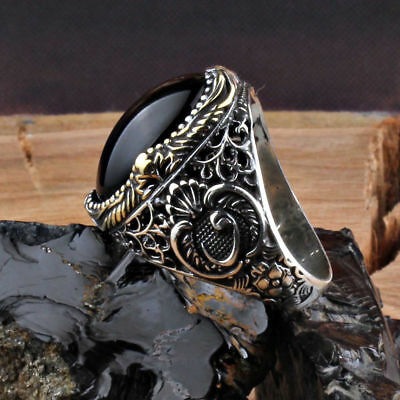 Handcraft 925 Sterling Silver Jewelry Onyx  Black Gemstone Men's  Ring