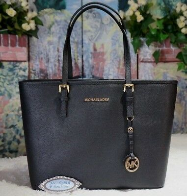 a95b83c123 NWT MICHAEL KORS JET SET Travel Top Zip Saffiano Leather Tote Bag In BLACK   278
