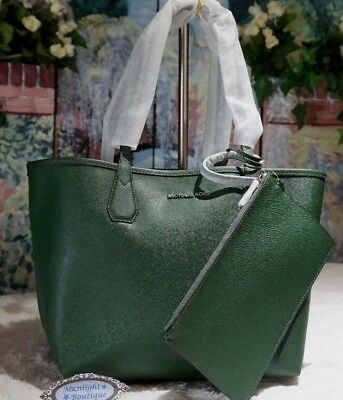 e68068c6d307f5 Michael Kors CANDY LARGE Reversible TOTE Shoulder Bag In MOSS/ NAVY Leather  $228