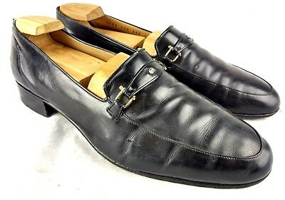 313125927 Vintage Gucci Mens Eu 43 US 9.5 Black Loafer Apron Toe Leather Horsebit  D2-025