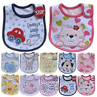Baby Boy Girl Cotton Bibs Waterproof Saliva Towel Feeding Burp Apron Bandana UP