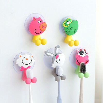 3D Cartoon Animal Cute Sucker Toothbrush Wall Holder Stand Suction Cup Bathroom