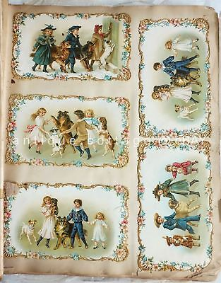1880 antique VICTORIAN DIE CUT SCRAPBOOK exquisite collections large