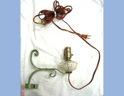 antique victorian WALL OIL LAMP GREEN PAINT scroll WROUGHT IRON ARM electric