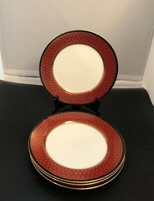 4 Fitz & Floyd Chaumont Cinnabar Fine China Dinner Plates. Sold By The Plate