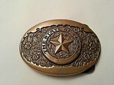 Vintage State Of Texas Belt Buckle Solid Brass Made In Usa
