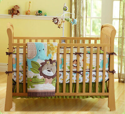 New Baby Girls Boys 7 Pieces Cotton Nursery Bedding Crib Cot Sets Forest