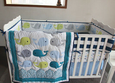 New Baby Girls Boys 7 Pieces Cotton Nursery Bedding Crib Cot Sets Blue
