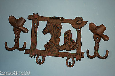 (3)pcs, Horse, Cowboy Boots, Cowboy Hat,Double Hook,with 2,cowboy hat wall hooks