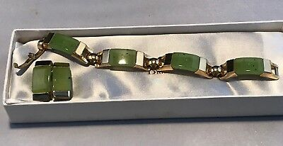Dior Necklace Earring Set Faux Jade 1972. Boxed.