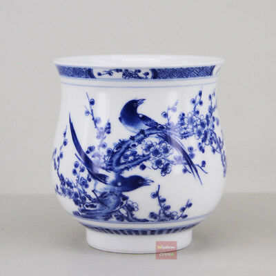Hand painted bird flower China Jingdezhen Blue and White Porcelain tea cup 280cc