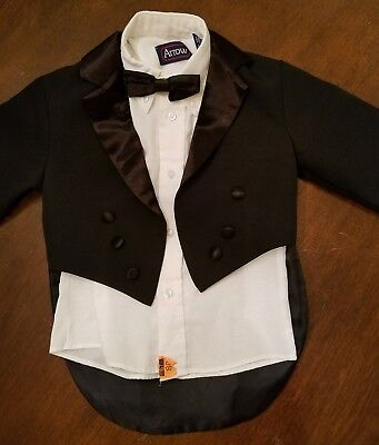 Toddlers Tuxedo Shirt Coat and bowtie 3T /4 Dry Cleaned