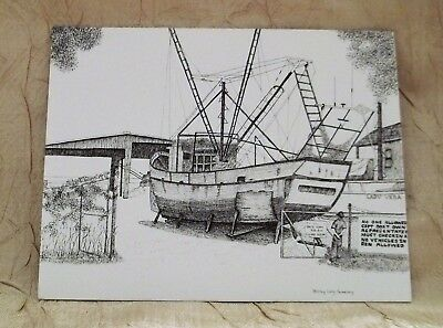 4 Note Cards/Envelopes Artist Shirley Long Sweeney Mississippi Gulf Coast Scenes