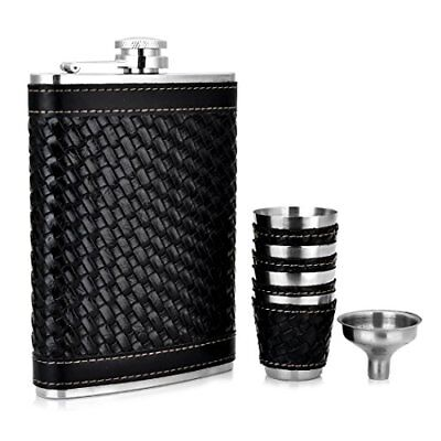 GENNISSY Black Hip Flask Set Woven PU Leather and Stainless Steel With Funnel 4