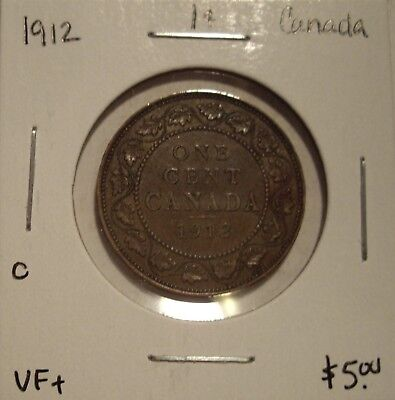 C Canada George V 1912 Large Cent - VF+