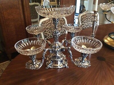 Vtg Large Silverplate Epergne by Reed and Barton  Thick Cut Bowls