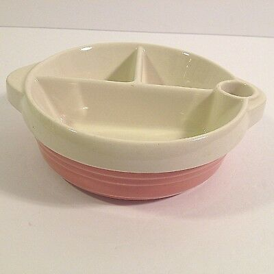 Vintage Excello China Baby Bowl Food Warming Feeding Divided Pink White 1940's
