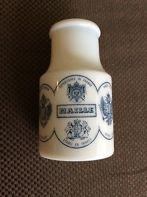 Vintage Maille White Glass French Mustard Jar with Lid