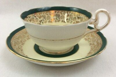 Royal Grafton Bone China Tea Cup Green/Gold Rim Floral from England