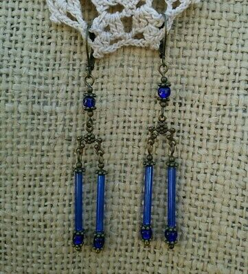 Vintage Victorian Style Glass Blue Bugle Bead Chandelier Earrings Dangle Drop *