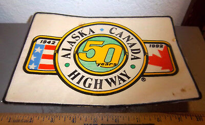 Alaska Canada ALCAN highway large full back size Embroidered patch, 50 yrs 1992