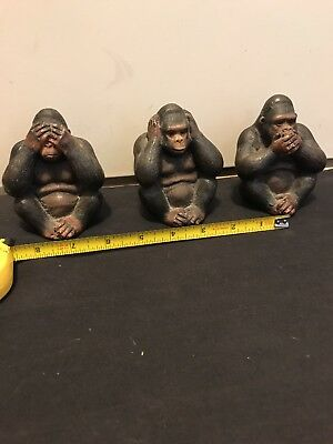 Set of 3 Large Detailed Rare Unique Gorilla See, Hear, Speak No Evil Monkeys.