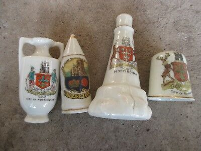 4x SMALL CHINA CRESTED WARE CHINA TRINKETS NOTTINGHAM & BRADWELL