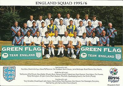 Euro '96 ENGLAND Squad, Official Colour Team Photo, with printed AUTOGRAPHS!