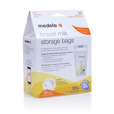 Medela NEW Breast Milk Storage Bags 50ct 6oz and free pouch NIB sealed AUTHENTIC
