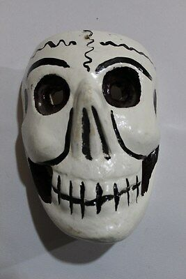 397 SKULL MEXICAN WOODEN MASK calavera hand carved and painted artesania decor