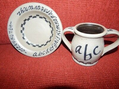 Rowe Pottery Salt Glaze Child's Cup & Bowl Set ABC Numbers Handmade Primitive