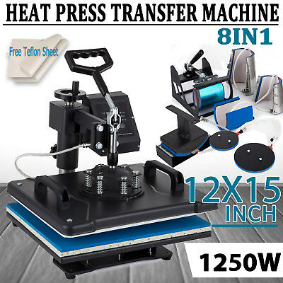 "8IN1 T-Shirt Heat Press Machine Transfer Sublimation Digital Swing Away 15""x12"""