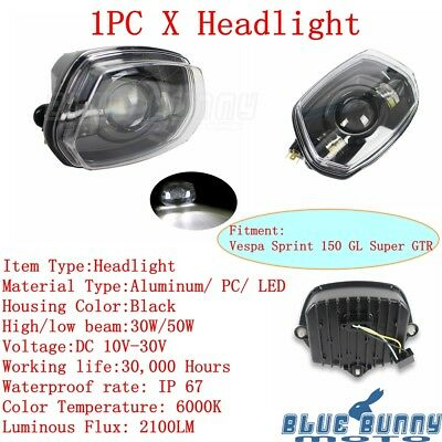 Motorcycle Front LED Headlight Lamp Hi/Lo Beam For Vespa Sprint 150 GL Super GTR