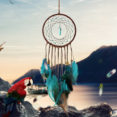Blue Dream Catcher Wall Hanging Decoration Ornament Handmade Feather Craft Gift