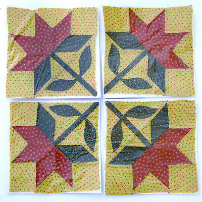 Lot of 4 Antique Pieced & Appliqued Peony Quilt Blocks Folk Art ~ AAFA