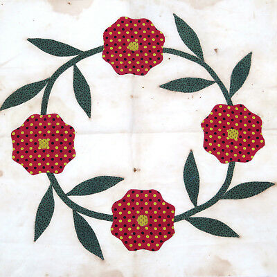 Antique 19th c. Applique Rose Wreath Quilt Block Folk Art ~ AAFA