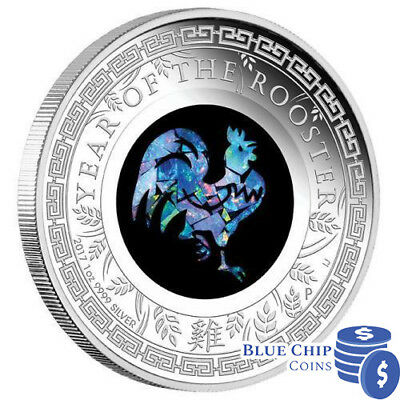 2017 $1 Australian Opal Rooster 1oz Silver Proof Coin