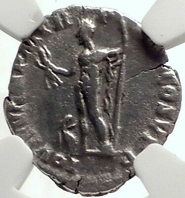 COMMODUS Authentic Ancient 189AD Rome Silver Roman Coin JUPITER Eagle NGC i69171