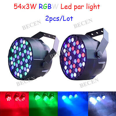 54x3w rgbw led par lights for dj party lighting wash effect for stage party 2pcs