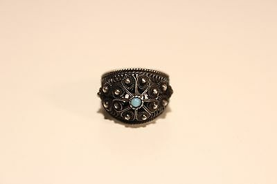 Art Deco Vintage Beautiful Hand Made Silver Ladies Ring Filigree With Blue Stone