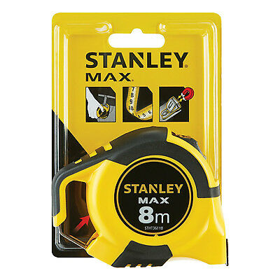 Stanley Max 8m Metric Tape Measure 3 Rivet Magnetic Double Sided Belt Clip Hook