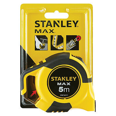 Stanley Max 5m Metric Tape Measure 3 Rivet Magnetic Double Sided Belt Clip Hook