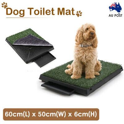 Indoor Dog Pet Potty Training Portable Toilet Large Loo Tray 1 / 2 Grass Mat AU