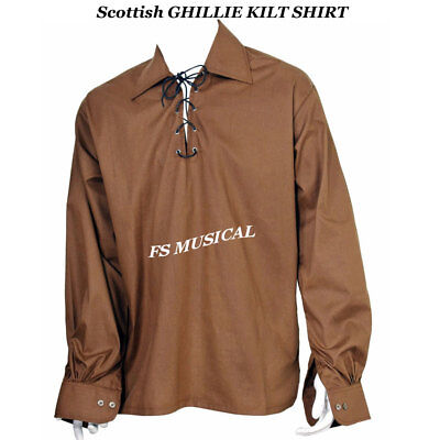 Scottish GHILLIE KILT SHIRT in Choice of Colors Jacobite Jacobean Size S To 3XL