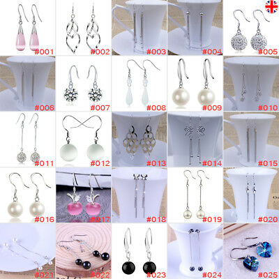 HOT Womens 925 Sterling Silver Plated Drop Dangle Hanging Hook Earrings Hoop