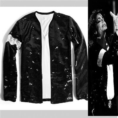 Rare Fashion Cosplay MJ Michael Jackson Billie Jean Sequined Jacket Premiere
