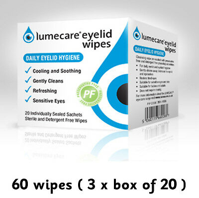 60 Lumecare eye lid wipes 3 boxes of 20 sachets each Lid cleansing