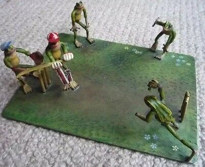 Austria Vienna Cold Painted Bronze Frogs playing Cricket on pitch c1900 Bergman