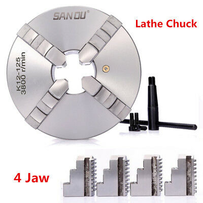 4 Jaw 80/125/160mm Self Centering/Independent Lathe Chuck CNC Milling Tool UK