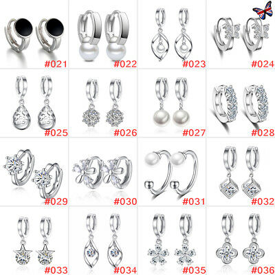 HOT Womens 925 Sterling Silver Plated Crystal Pearl Hoop/Drop Ear Stud Earrings